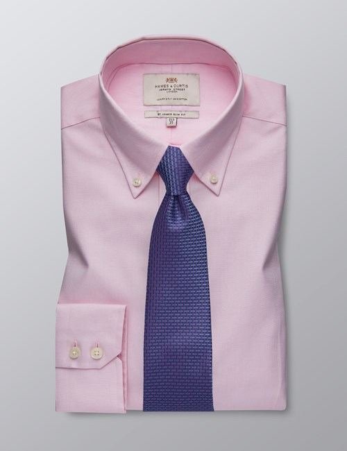 Men's Business Pink Dobby Slim Fit Shirt -Button Down - Single Cuff - Easy Iron