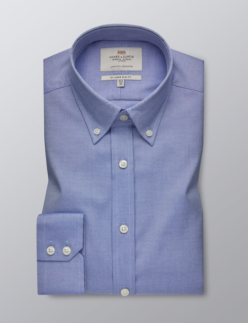 Men's Formal Blue Slim Fit Shirt - Button Down - Single Cuff - Easy Iron