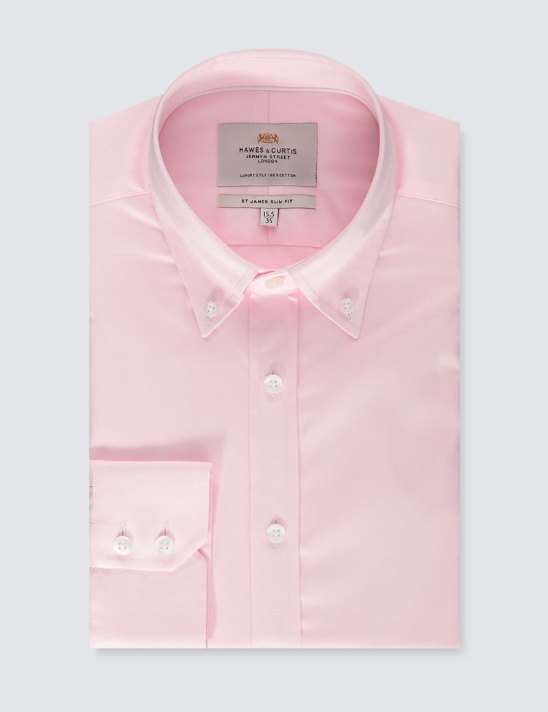 Men's Formal Pink Fine Twill Slim Fit Shirt -  Button Down - Single Cuff