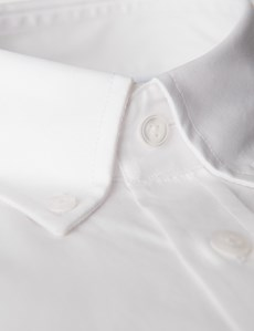 Men's Dress White Fine Twill Slim Fit Shirt -  Button Down - Single Cuff - Easy Iron