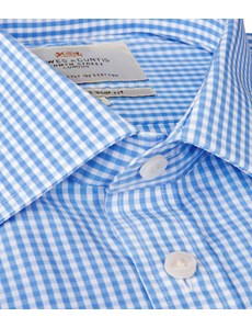 Men's Formal White & Blue Gingham Check Slim Fit Shirt - Double Cuff - Easy Iron