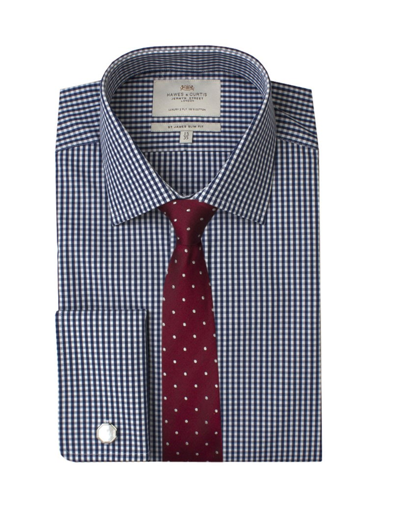 Men's  White & Navy Gingham Check Slim Fit Business Shirt - Double Cuff - Easy Iron