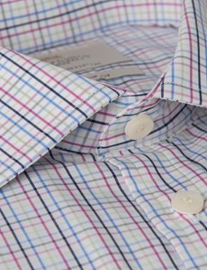 Men's  Green & Blue Multi Check Slim Fit Business Shirt - Double Cuff - Easy Iron