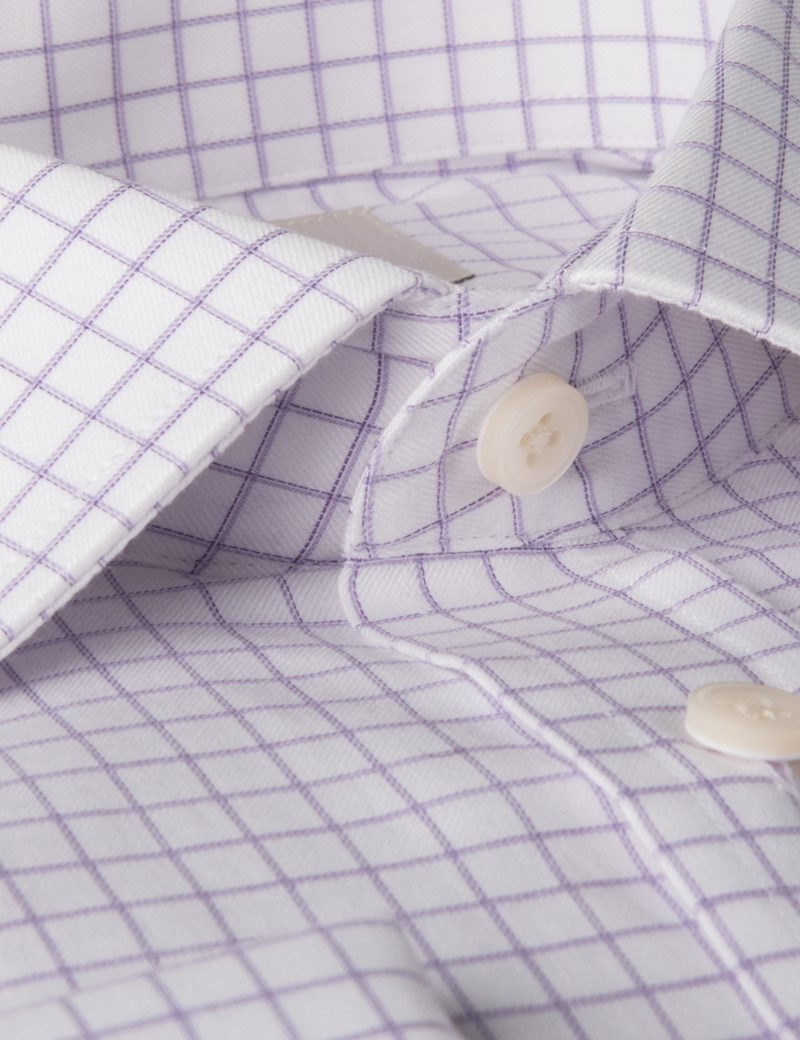 Men's Lilac & White Grid Check Slim Fit Business Shirt - Double Cuff - Easy Iron