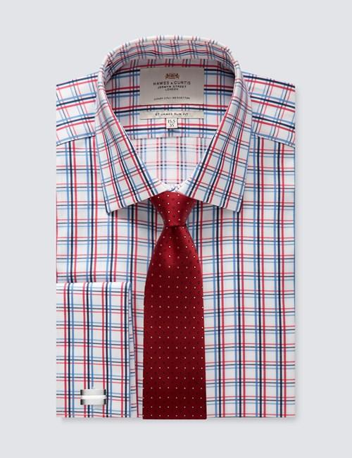 Men's Dress Red & White Multi Plaid Slim Fit Shirt - French Cuff - Easy Iron