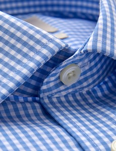 Bügelfreies Businesshemd – Slim Fit – Manschetten - blau weiß Gingham Karo
