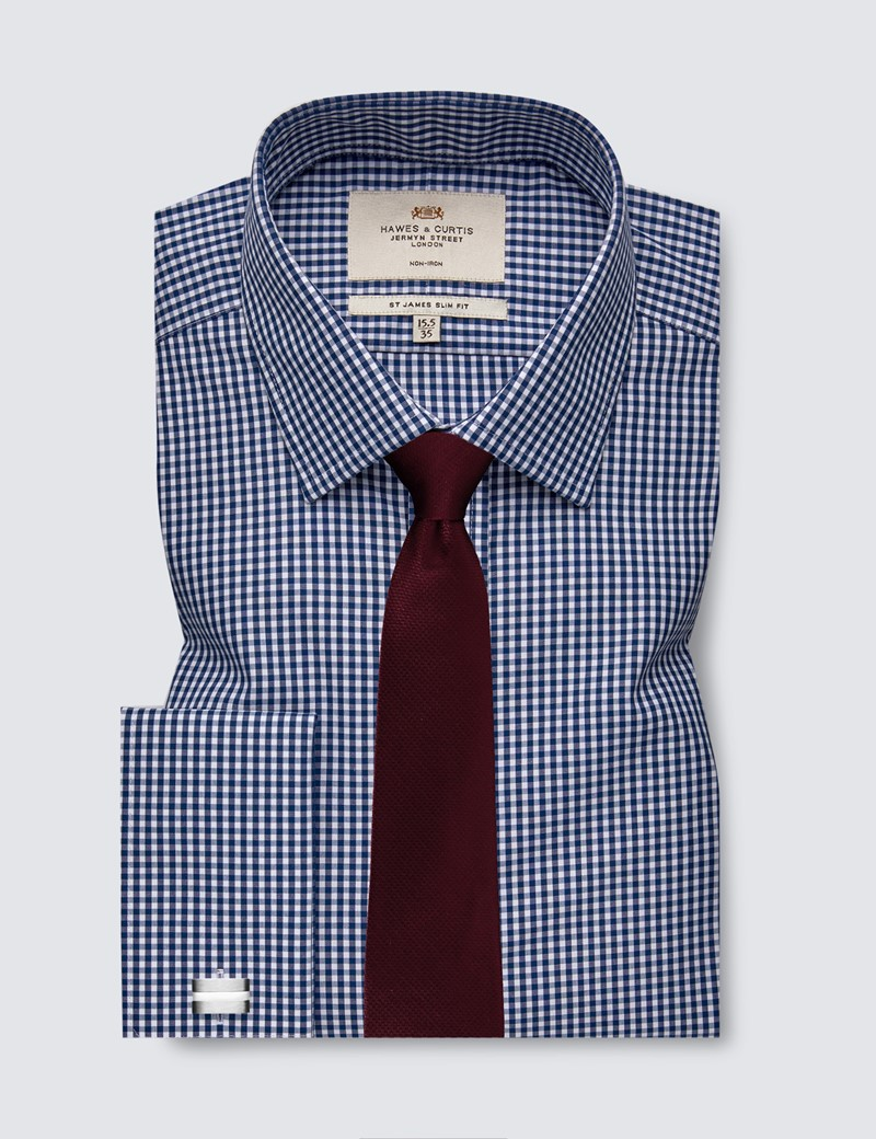 Bügelfreies Businesshemd – Slim Fit – Manschetten - navy weiß Gingham Karo