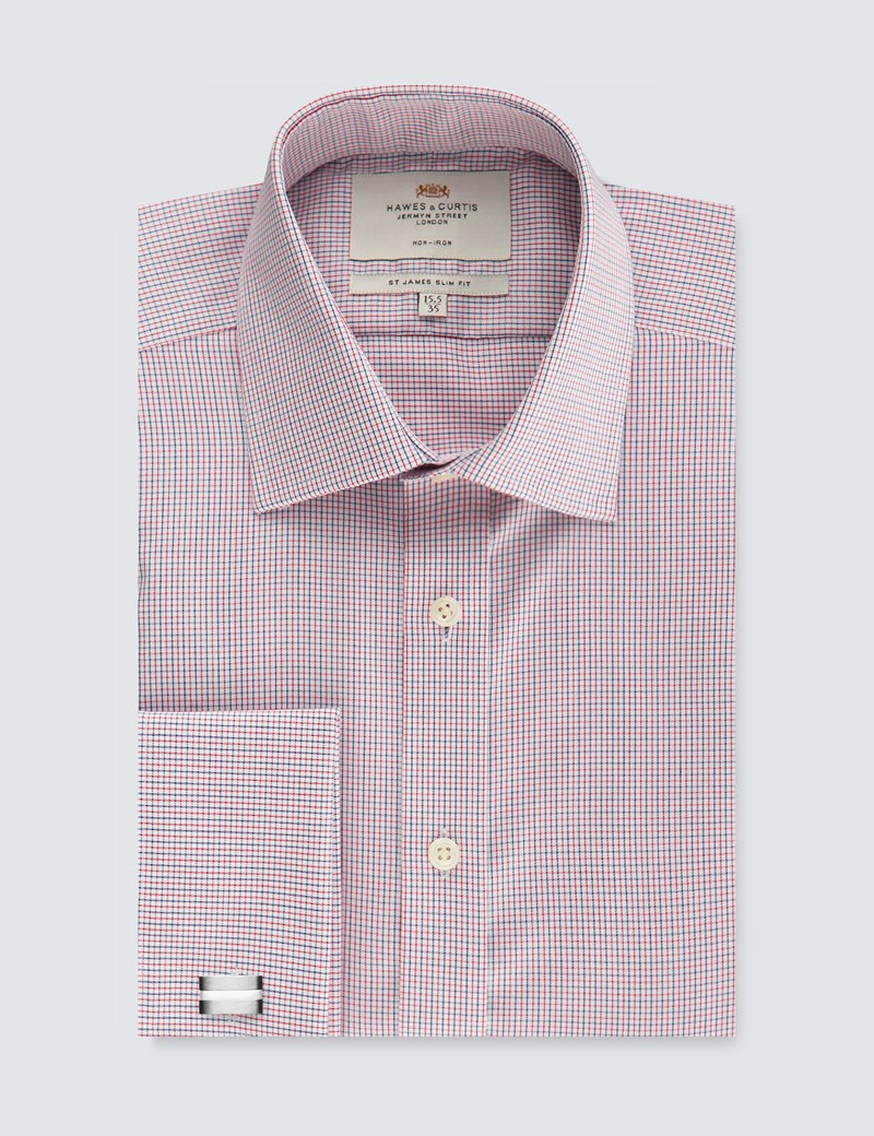 Men's Formal Red & Navy Multi Check Slim Fit Shirt - Double Cuff - Non Iron