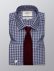 Men's Formal Navy & White Gingham Check Slim Fit Shirt - Double Cuff - Non Iron