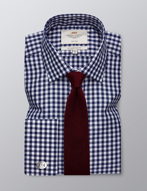Men's Dress Navy & White Gingham Plaid Slim Fit Shirt - French Cuff - Non Iron