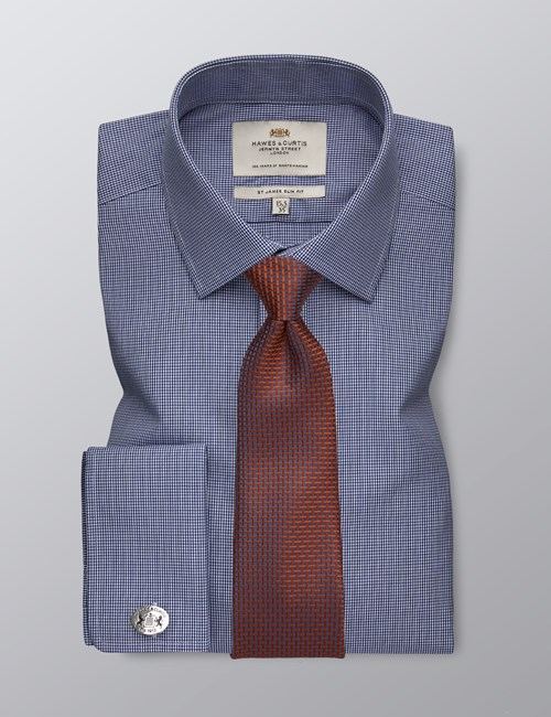 Men's Formal Navy & White Small Gingham Check Slim Fit Shirt - Double Cuff - Easy Iron