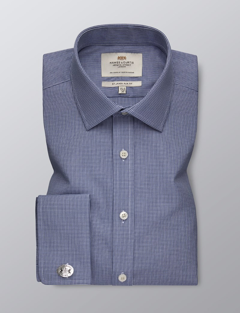 Men's Dress Navy & White Small Gingham Plaid Slim Fit Shirt - French Cuff - Easy Iron