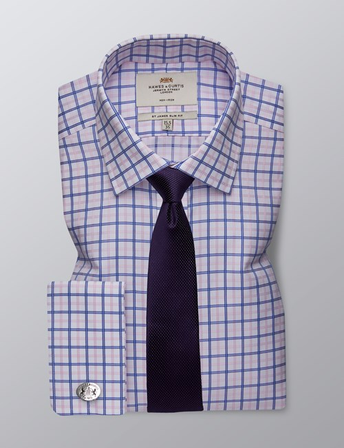 Men's Formal Royal & Pink Check Slim Fit Shirt - Double Cuff - Non Iron
