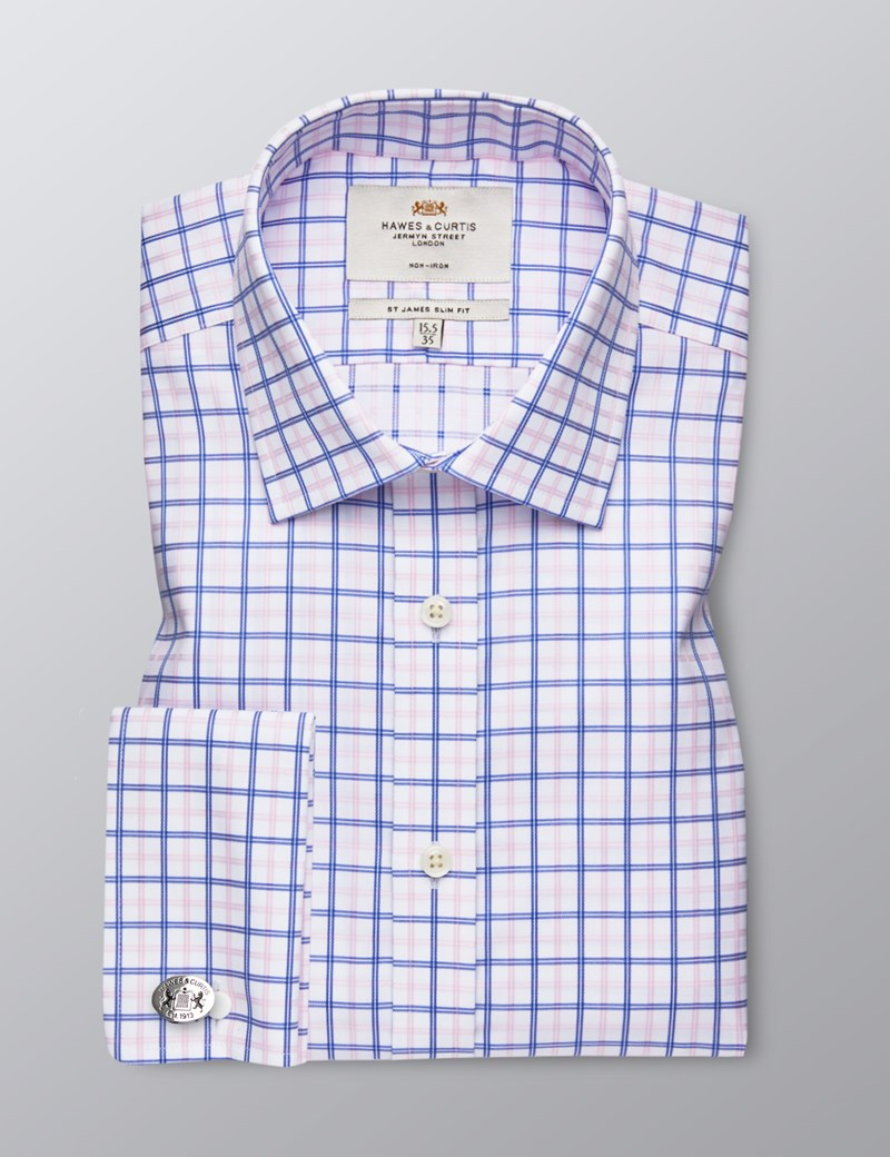 Men's Dress Royal & Pink Plaid Slim Fit Shirt - French Cuff - Non Iron