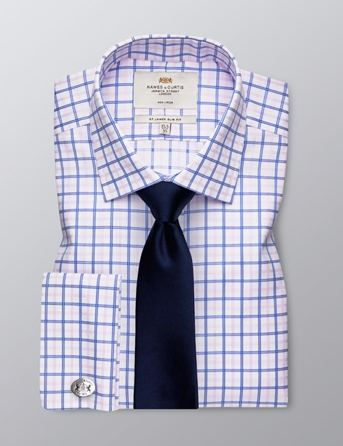 Men's Business Royal & Pink Check Slim Fit Shirt - Double Cuff - Non Iron