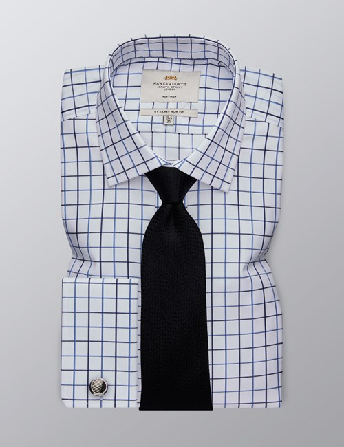 Men's Dress White & Blue Large Grid Plaid Slim Fit Shirt - French Cuff - Non Iron