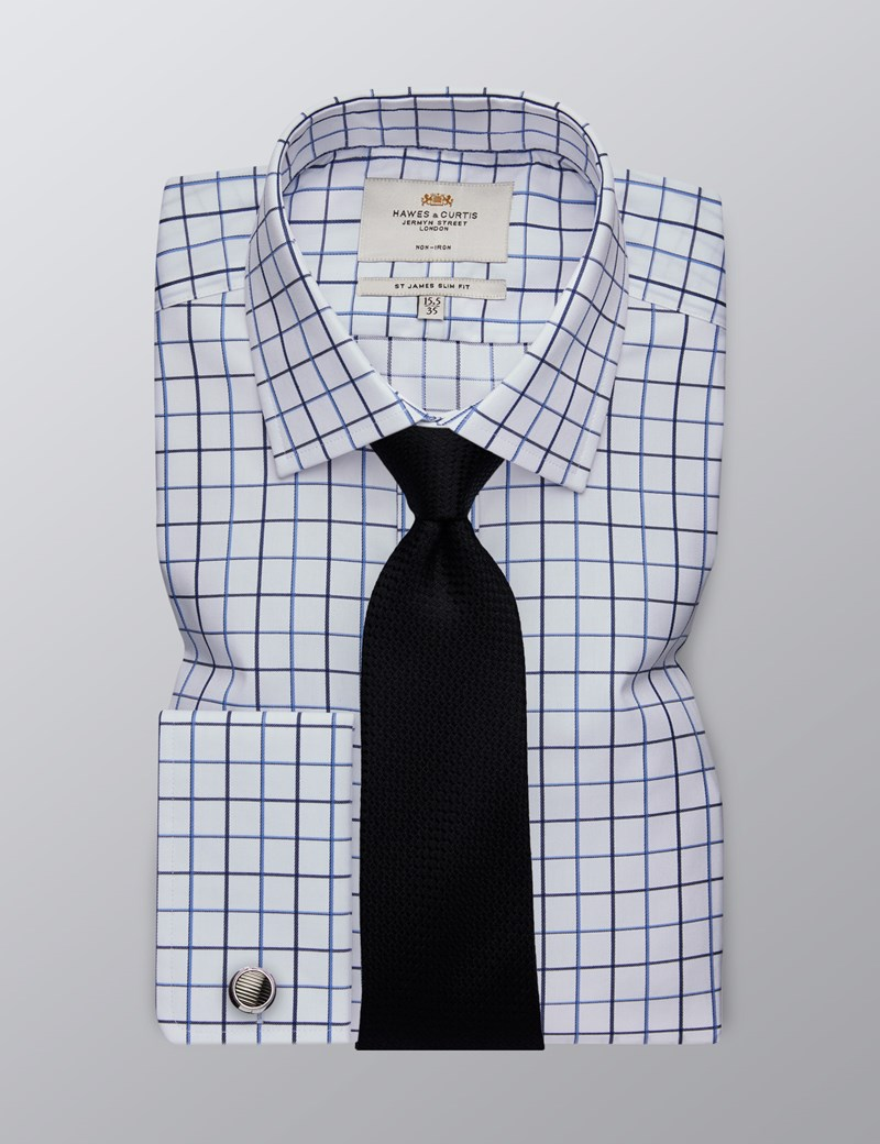 Men's Formal White & Blue Large Grid Check Slim Fit Shirt - Double Cuff - Non Iron