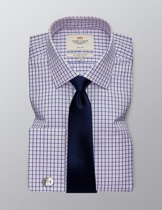 Men's Dress Pink & Navy Plaid Slim Fit Shirt - French Cuff - Non Iron