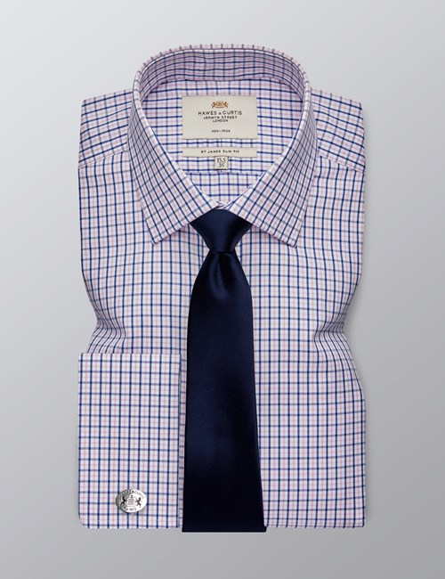 Men's Formal Pink & Navy Check Slim Fit Shirt - Double Cuff - Non Iron