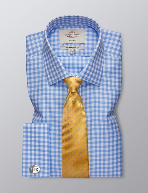 Men's Dress Blue & White Gingham Plaid Slim Fit Shirt - French Cuff - Non Iron