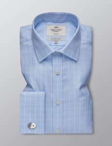 Men's Formal Blue & White Textured Grid Check Slim Fit Shirt - Double Cuff - Non Iron