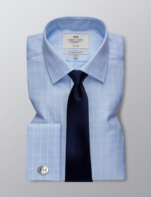Men's Business Blue & White Textured Grid Check Slim Fit Shirt - Double Cuff - Non Iron