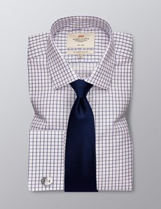 Men's Dress Navy & White Grid Plaid Slim Fit Shirt - French Cuff - Non Iron