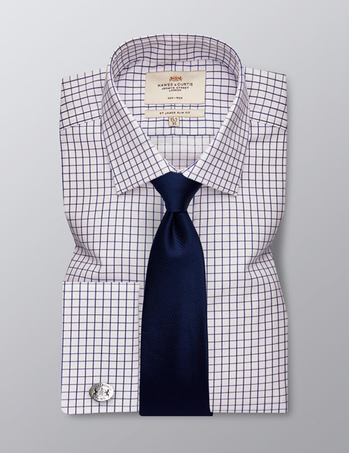 Men's Formal Navy & White Grid Check Slim Fit Shirt - Double Cuff - Non Iron