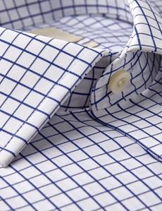 Bügelfreies Businesshemd – Slim Fit – Manschetten – Gitter marine