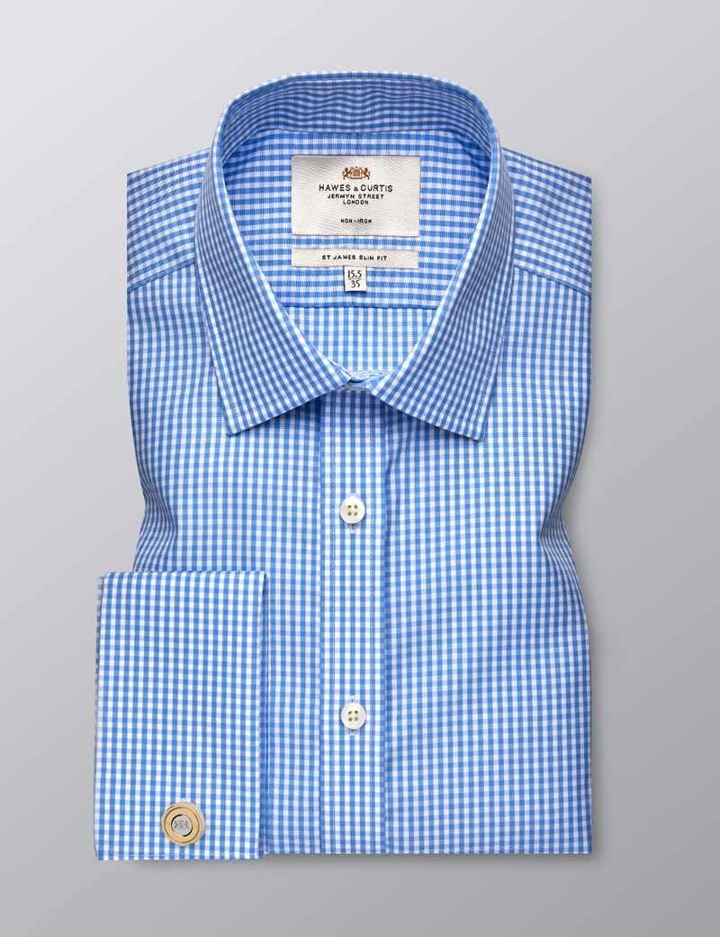 Men's Formal Blue & White Check Slim Fit Shirt - Double Cuff - Non Iron