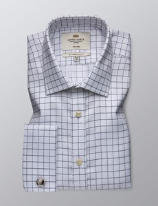 Men's Formal White & Navy Check Slim Fit Shirt - Double Cuff - Non Iron