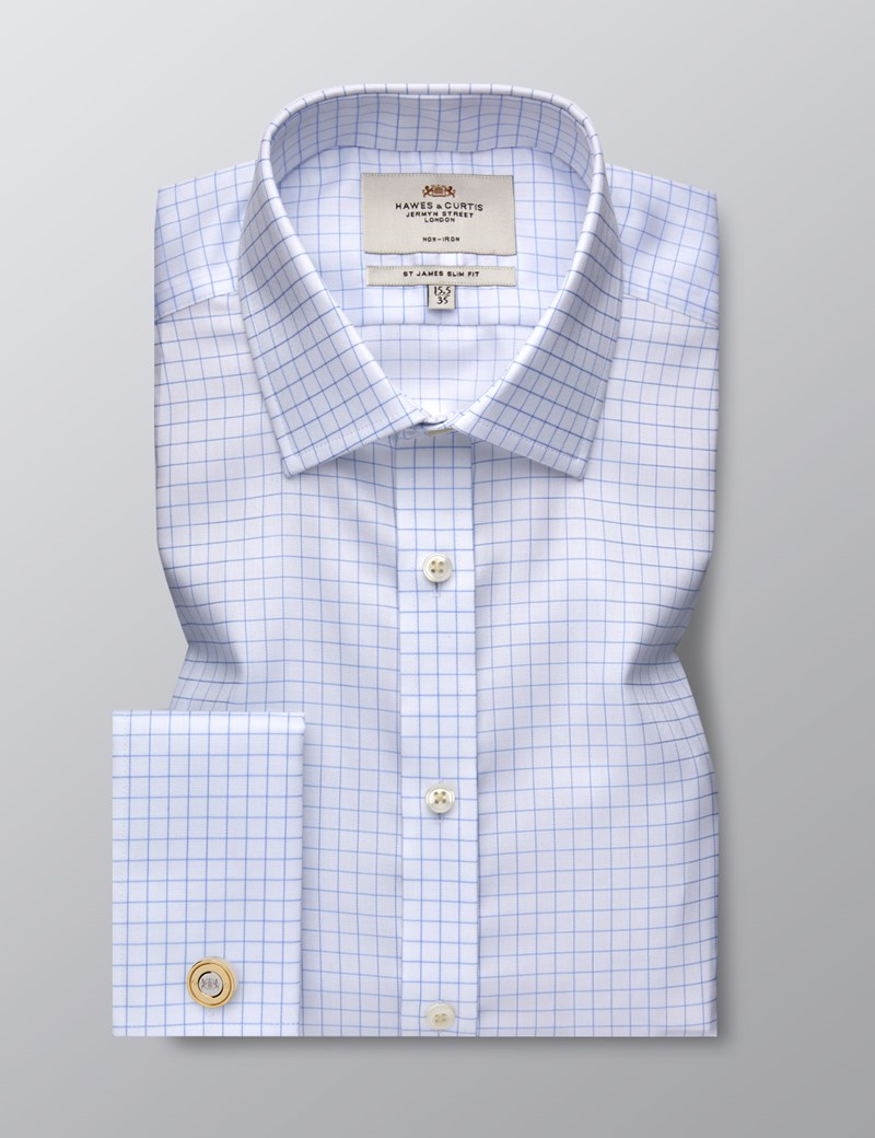 Men's Formal Blue & White Grid Check Slim Fit Shirt - Double Cuff - Non Iron