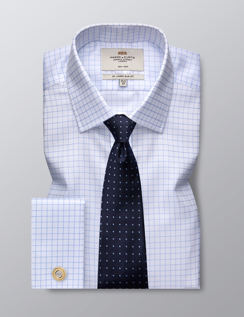 Men's Business Blue & White Grid Check Slim Fit Shirt - Double Cuff - Non Iron