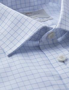 Bügelfreies Businesshemd - Slim Fit - Manschetten - Weiß mit Gitter