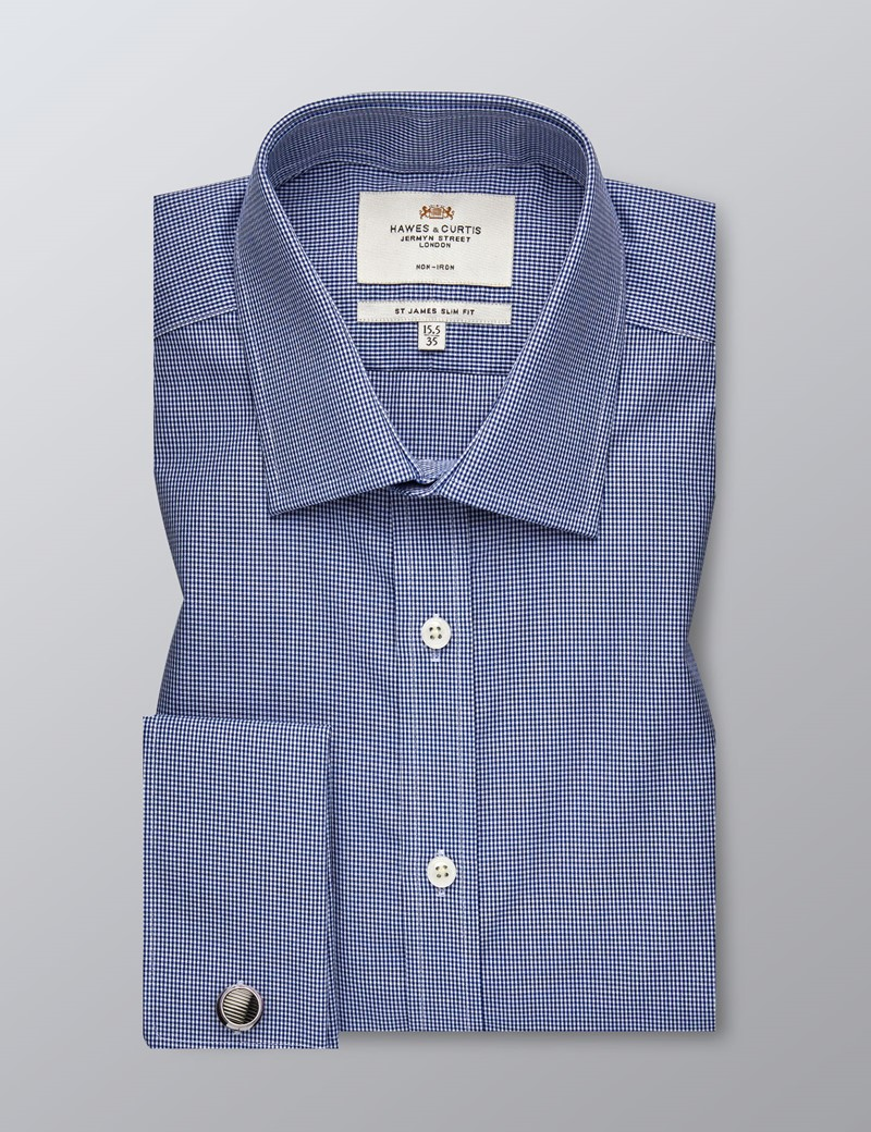 Men's Business Navy & White Mini Gingham Check Slim Fit Shirt - Double Cuff - Non Iron