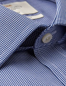 Men's Formal Navy & White Mini Gingham Check Slim Fit Shirt - Double Cuff - Non Iron