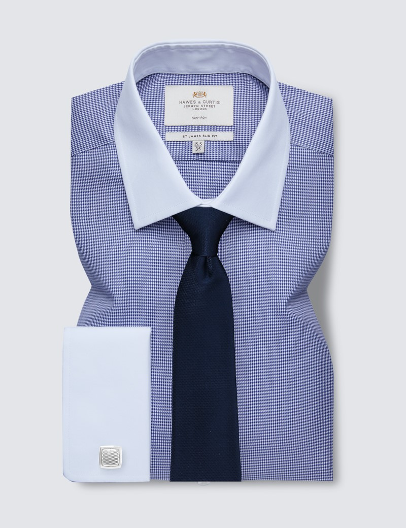 Non Iron Navy & White Dogstooth Slim Fit Shirt with White Collar and Double Cuff