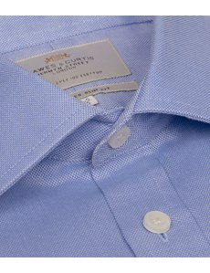 Men's Dress Blue Oxford Slim Fit Shirt - French Cuff - Easy Iron