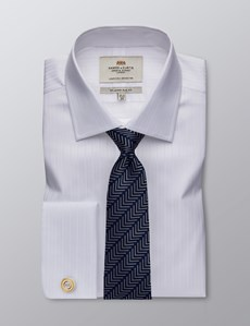 Men's Dress White Self Stripe Slim Fit Shirt - Double Cuff - Easy Iron
