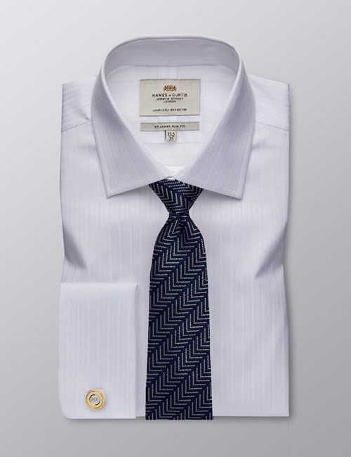 Men's Formal White Self Stripe Slim Fit Shirt - Double Cuff - Easy Iron