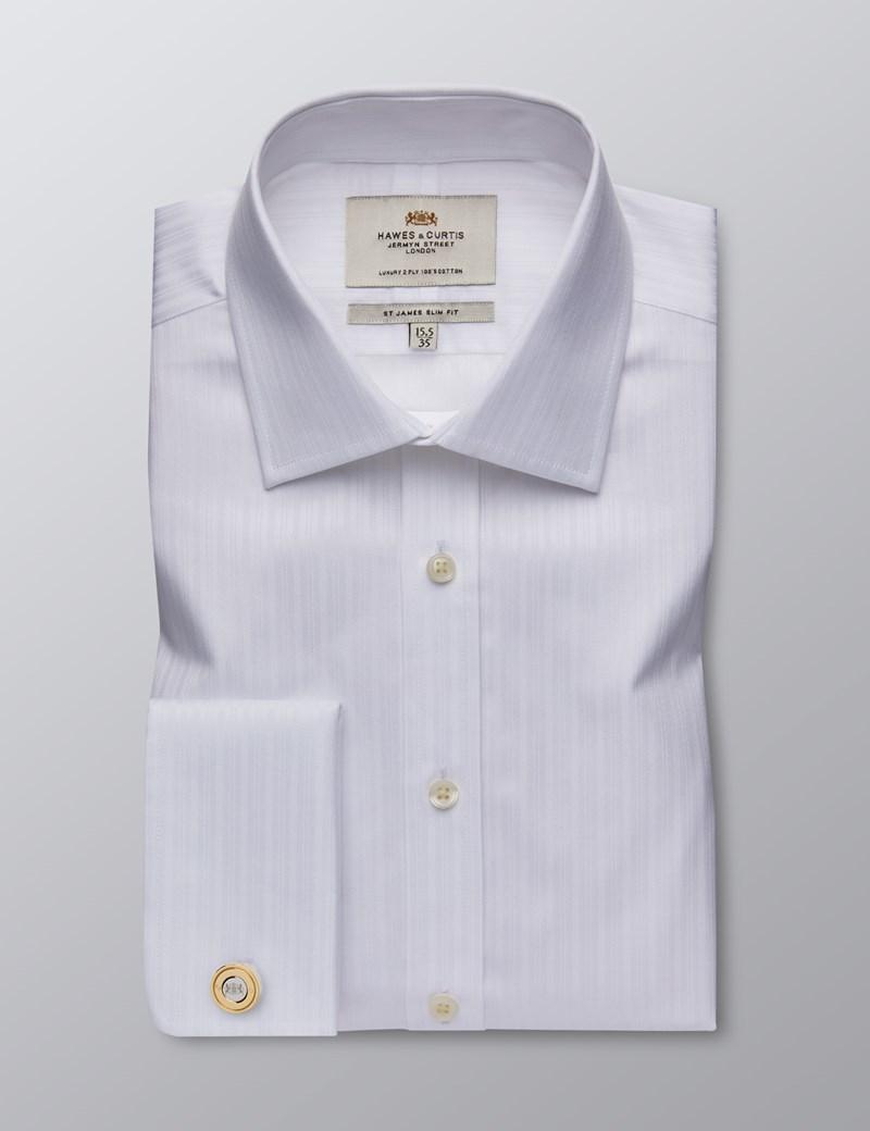 Men's Dress White Self Stripe Slim Fit Shirt - Double Cuff - Easy Iron