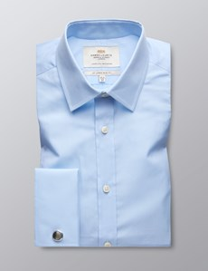 Men's Formal Light Blue Slim Fit Shirt - Double Cuff - Easy Iron