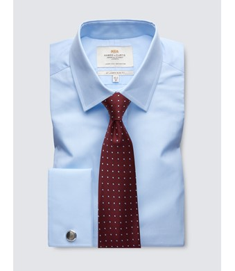 Men's Business Blue Slim Fit Shirt - Double Cuff - Easy Iron