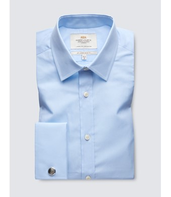 Men's Dress Blue Poplin Cotton Slim Fitted  Shirt - French Cuff - Easy Iron