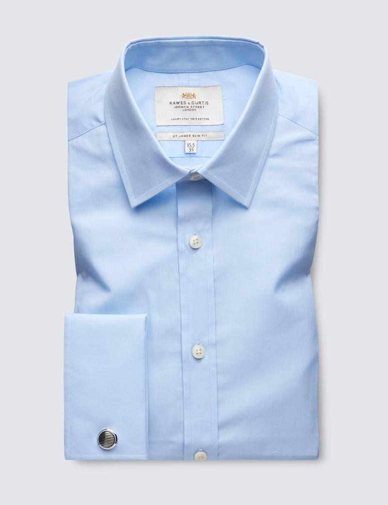 Men's Dress Blue Poplin Cotton Slim Fitted  Shirt - French Cuff - Easy Iron