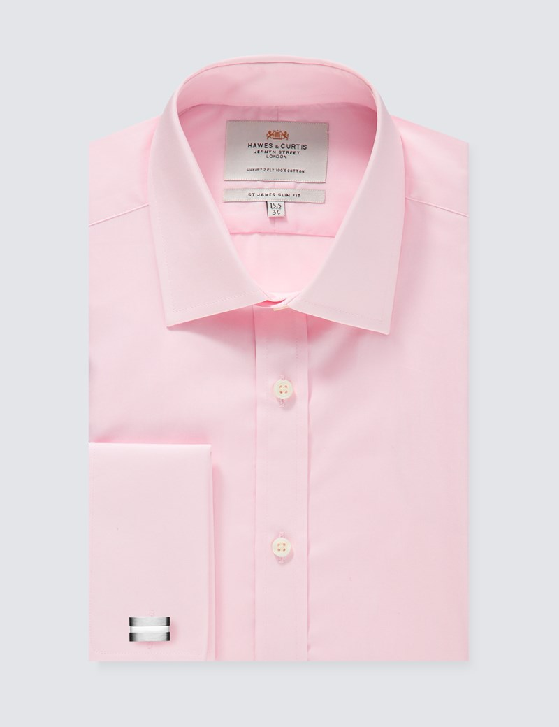 Men's Dress  Pink Poplin Slim Fitted Cotton Shirt - French Cuff - Easy Iron