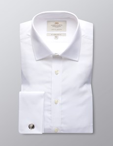 Men's White Poplin Slim Fit Dress Shirt - French Cuff - Easy Iron