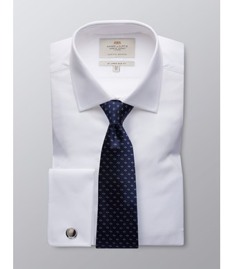 Men's  White Poplin Slim Fit Business Shirt - Double Cuff - Easy Iron