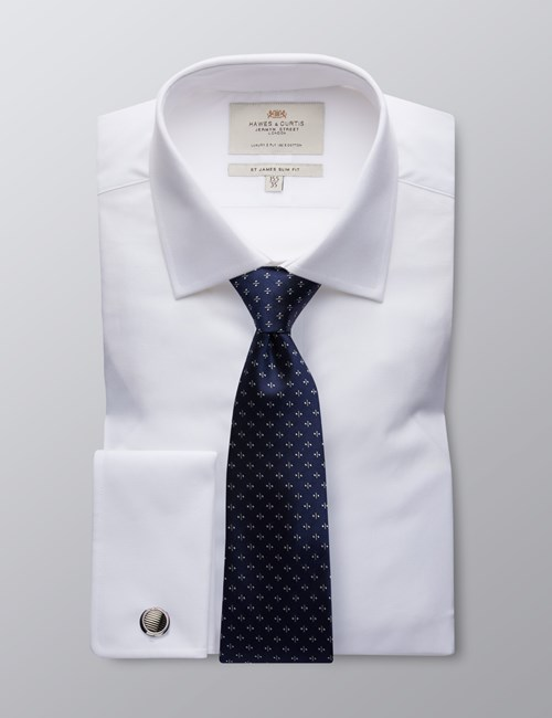Men's Formal White Poplin Slim Fit Shirt - Double Cuff - Easy Iron
