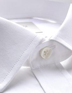 Men's  White Poplin Slim Fit Business Shirt - Double Cuff - Easy Iron